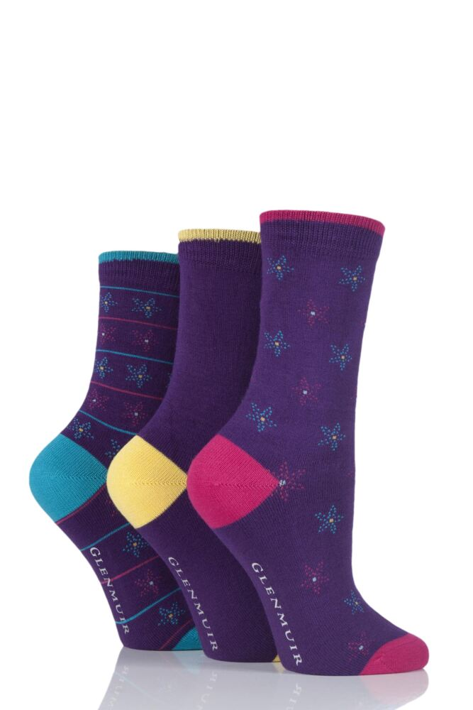 Ladies 3 Pair Glenmuir Flowers and Plain Bamboo Socks