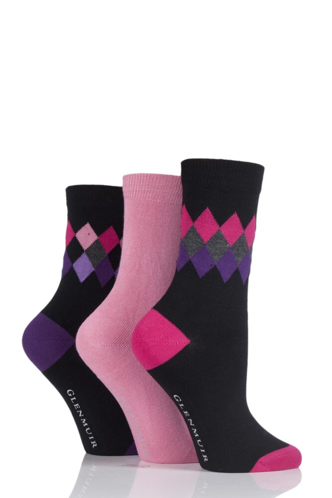 Ladies 3 Pair Glenmuir Diamond and Plain Bamboo Socks