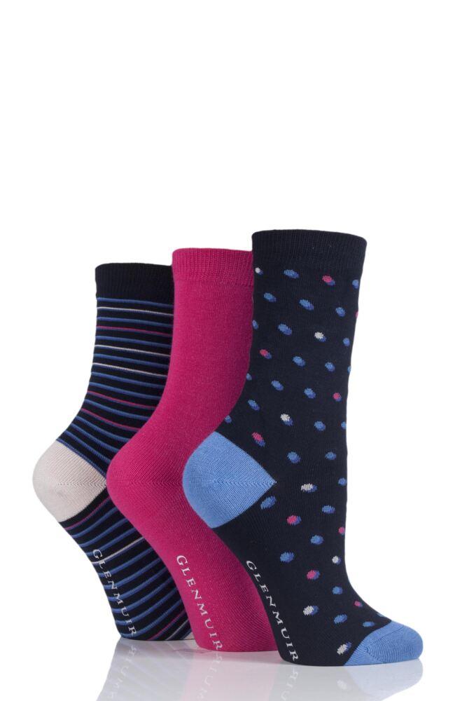 Ladies 3 Pair Glenmuir Dot, Stripe and Plain Bamboo Socks