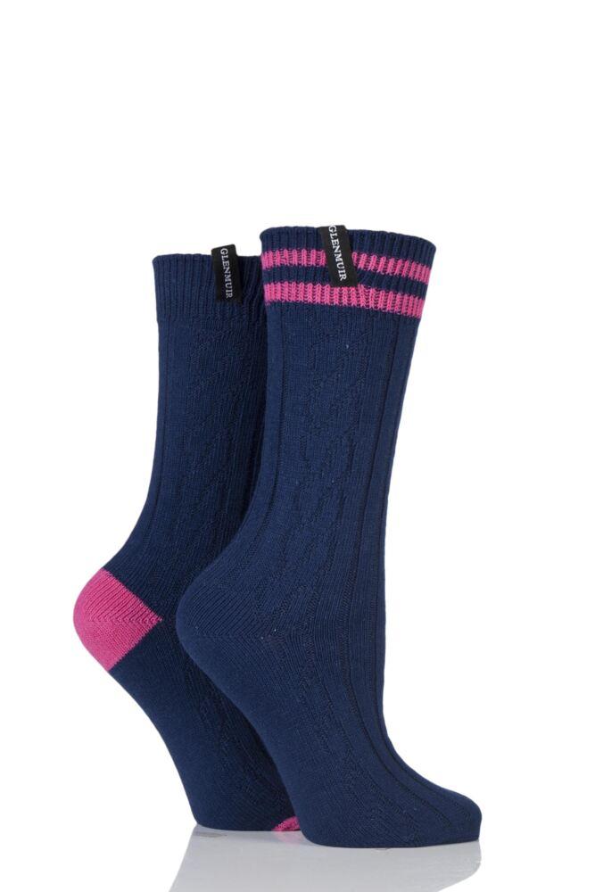 Ladies 2 Pair Glenmuir Cable Knit Cotton Blend Leisure Socks