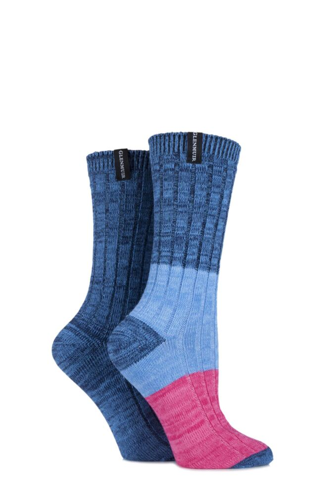 Ladies 2 Pair Glenmuir Ribbed and Banded Striped Cotton Leisure Socks