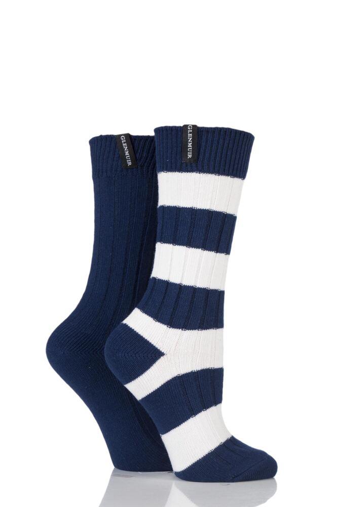 Ladies 2 Pair Glenmuir Block Stripe and Plain Cotton Blend Leisure Socks