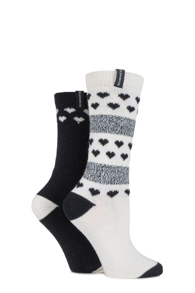 Ladies 2 Pair Glenmuir Fair Isle and Heart Patterned Merino Wool Blend Boot Socks