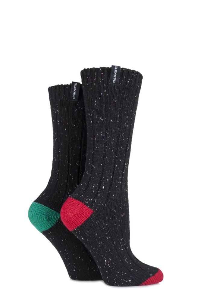 Ladies 2 Pair Glenmuir Speckled Yarn Merino Wool Blend Boot Socks