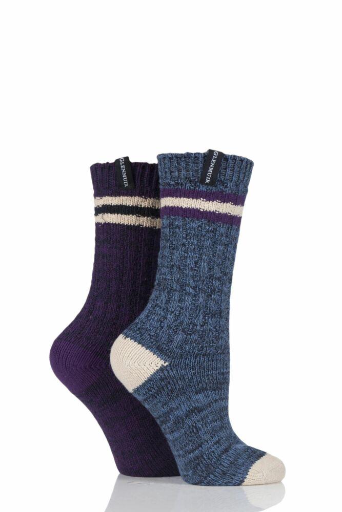 Ladies 2 Pair Glenmuir Marl and Striped Detail Boot Socks