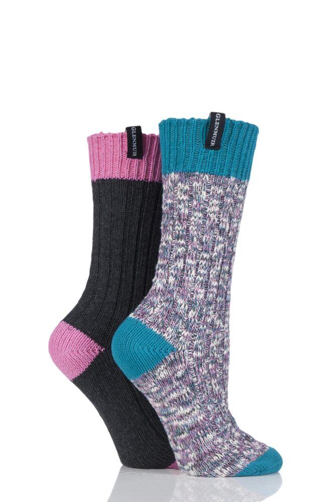 Ladies 2 Pair Glenmuir Marl Knit and Plain Boot Socks