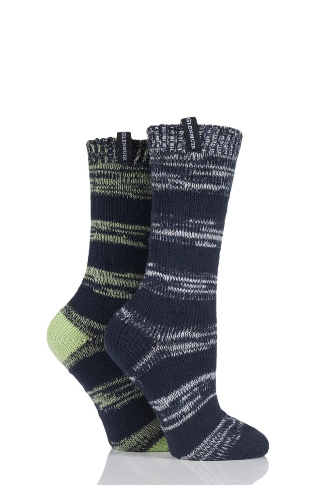 Ladies 2 Pair Glenmuir Broken Stripe Boot Socks
