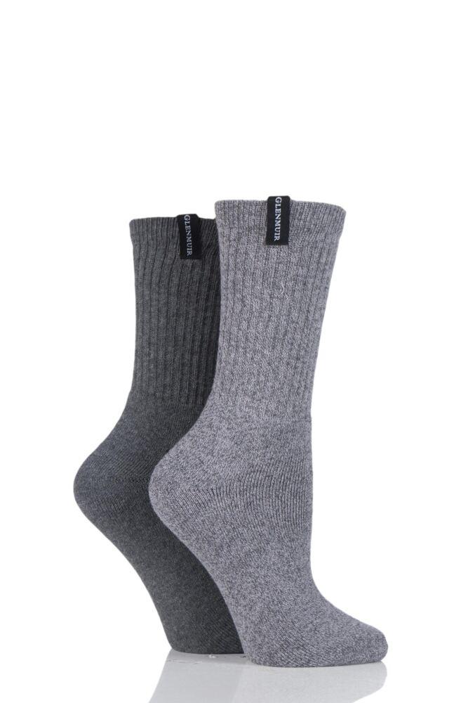 Ladies 2 Pair Glenmuir Classic Plain Ribbed Cushioned Boot Socks