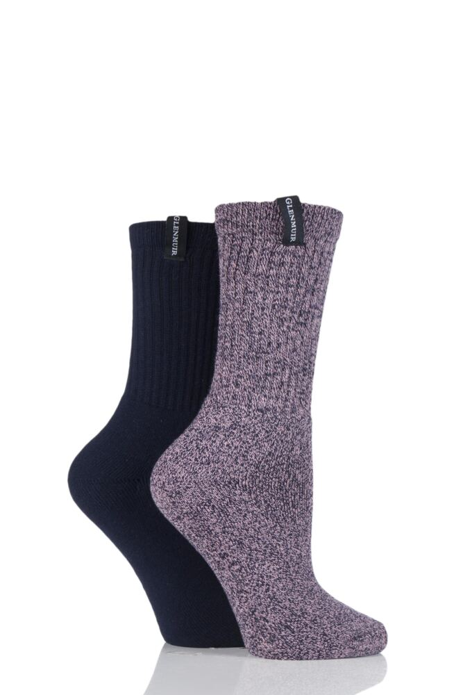 Ladies 2 Pair Glenmuir Classic Plain Ribbed Cushioned Boot Socks