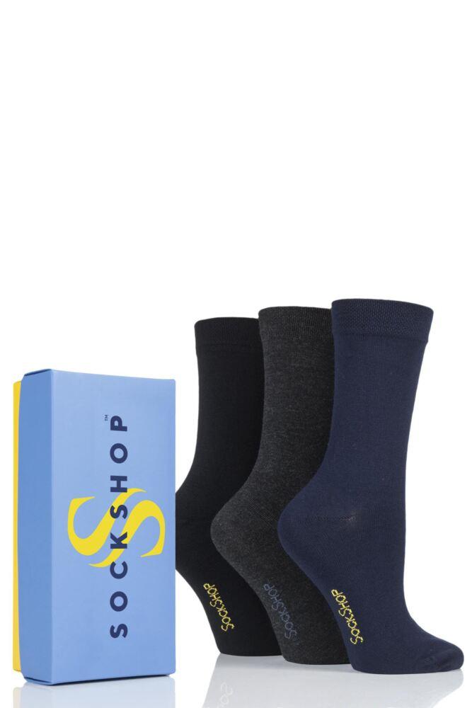 Ladies 3 Pair SockShop Bamboo Bright Gift Boxed Socks
