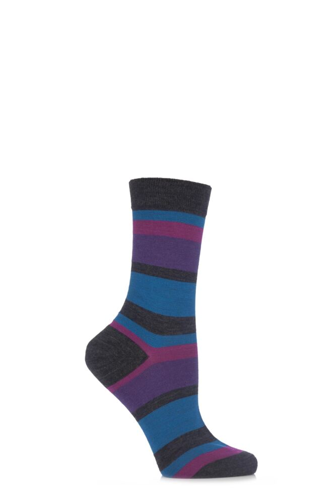 Ladies 1 Pair Pantherella Merino Wool Eleanor New Block Striped Socks