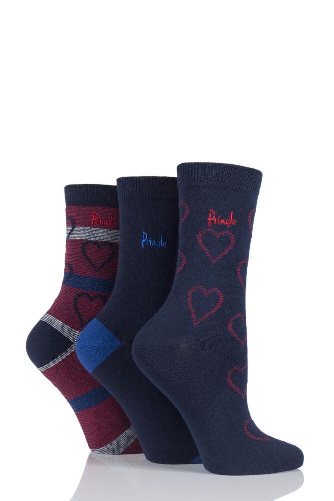 Ladies 3 Pair Pringle Shanice Hearts and Plain Socks