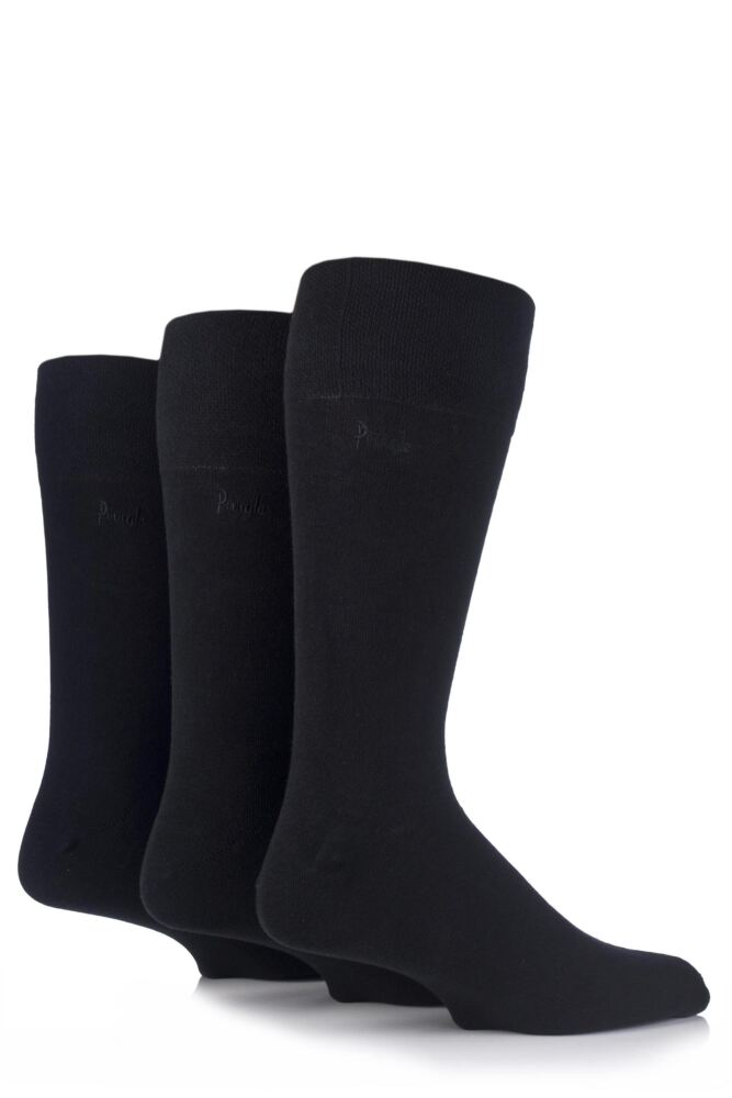 Mens 3 Pair Pringle Dunvegan Comfort Cuff Plain Cotton Socks