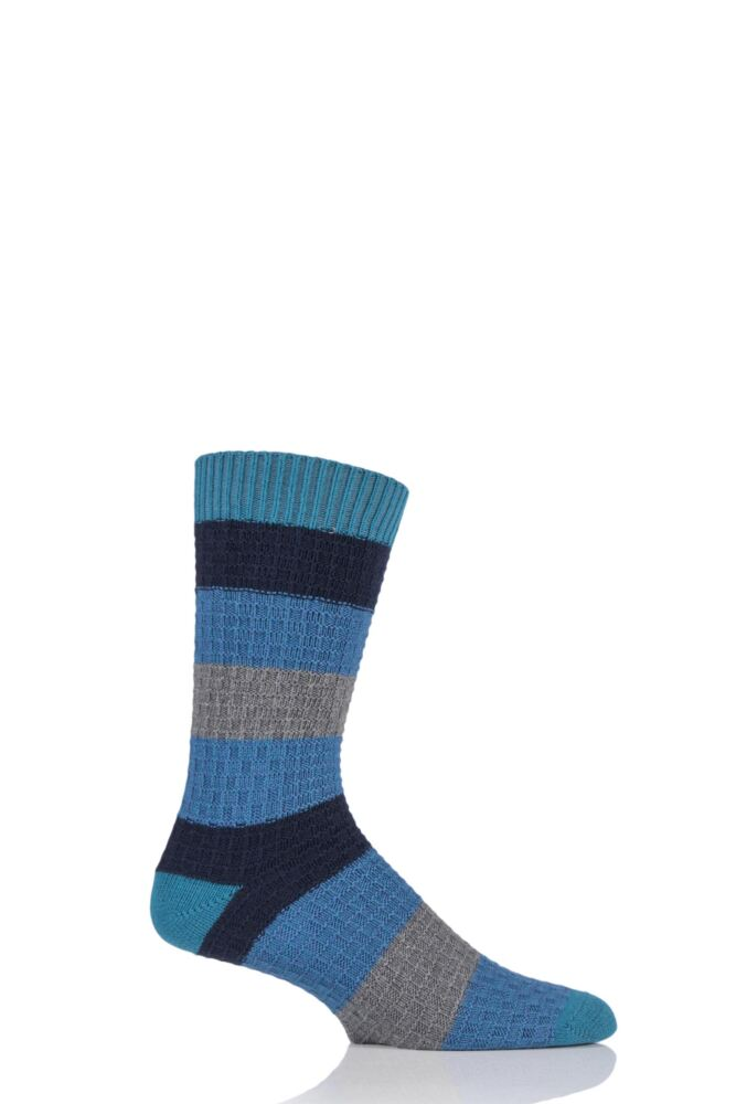 Mens 1 Pair Urban Knit Block Striped Twisted Square Cotton Socks 33% OFF
