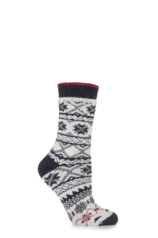 Ladies 1 Pair Urban Knit Fair Isle Wool Blend Boot Socks
