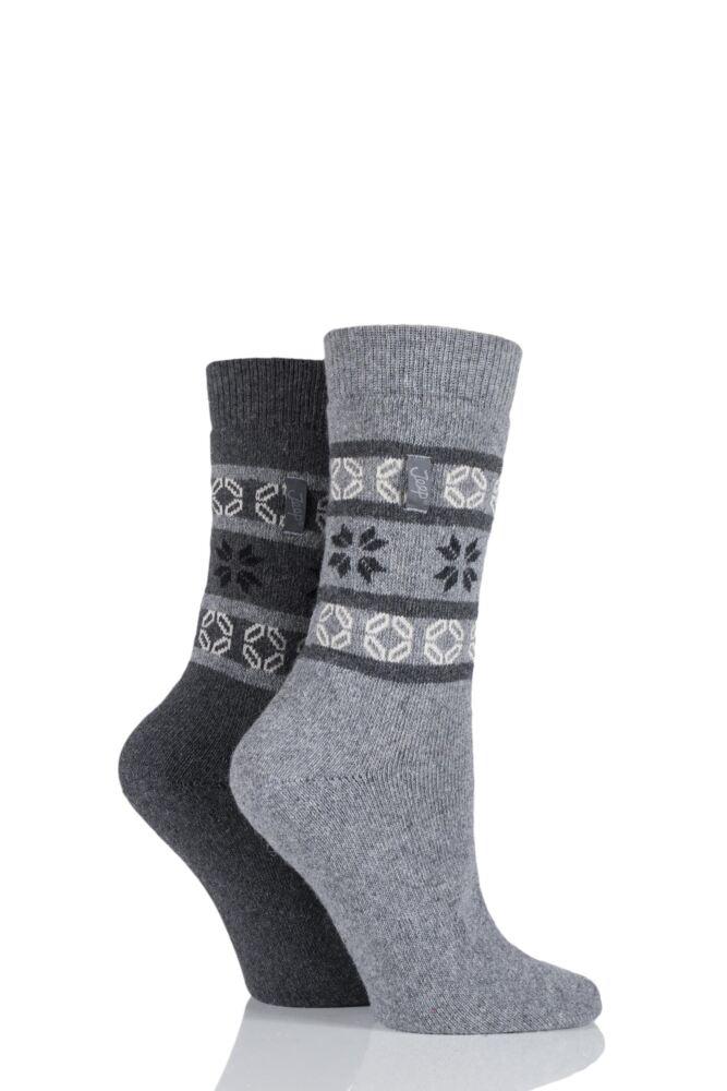 Ladies 2 Pair Jeep Fair Isle Jacquard Socks