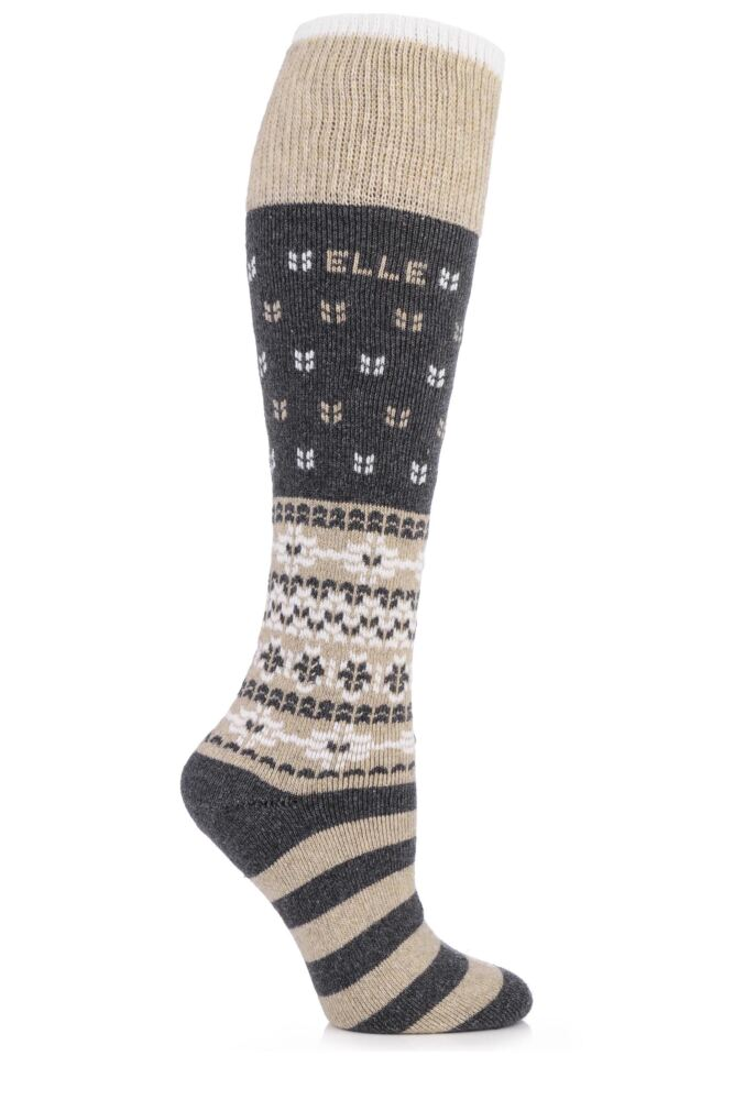 Ladies 1 Pair Elle Wool Fairisle Winter Activity Ski Socks