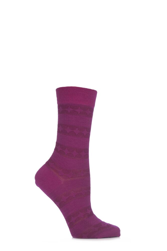 Ladies 1 Pair Pantherella Merino Wool Catherine Spiral Band Socks