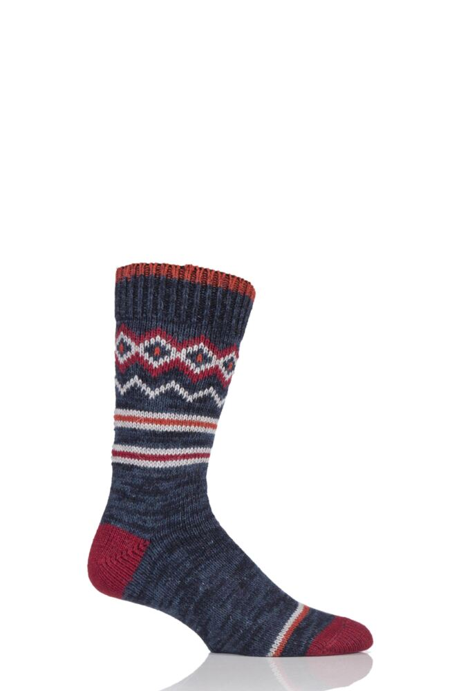 Mens 1 Pair Urban Knit Fair Isle Wool Blend Boot Socks 25% OFF