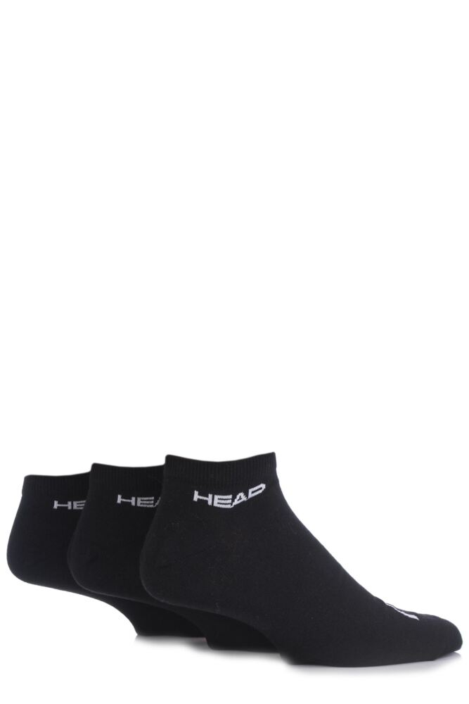 Mens 3 Pair Head Plain Cotton Sport Sneaker Socks In Black