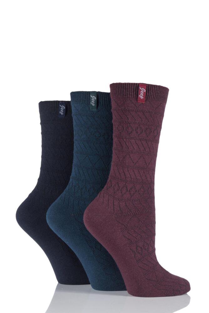 Ladies 3 Pair Jeep Spirit Drop Needle Fair Isle Knit Cotton Socks