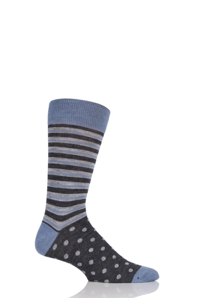 Mens 1 Pair Viyella Half Stripe and Half Dots Wool Blend Socks 25% OFF