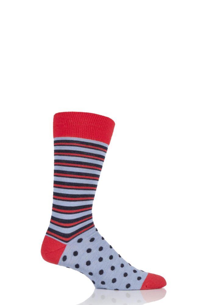 Mens 1 Pair Viyella Half Stripe and Half Dots Wool Blend Socks