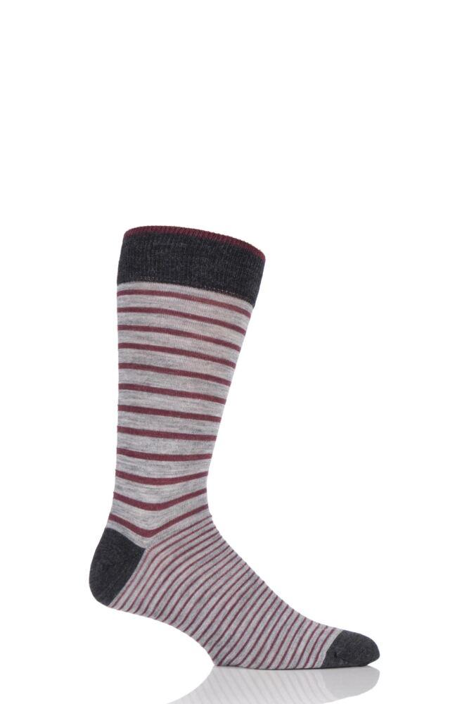 Mens 1 Pair Viyella Two Stripe Wool Blend Socks 33% OFF
