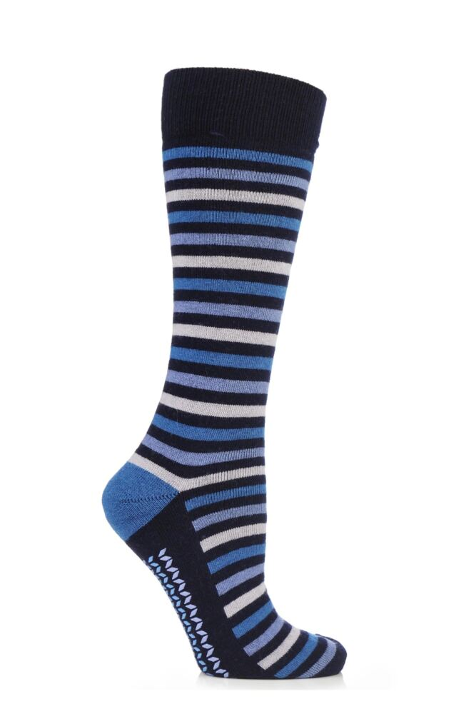 Ladies 1 Pair Elle Wool and Viscose Striped Slipper Socks