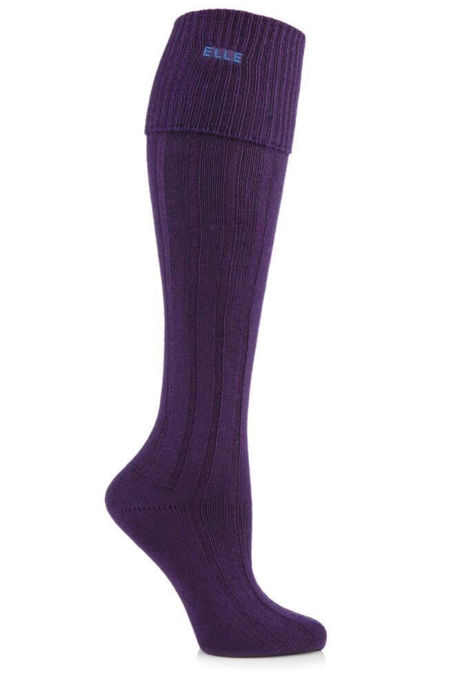 Ladies 1 Pair Elle Wool Ribbed Knee High Socks with Cuff 25% OFF This Style