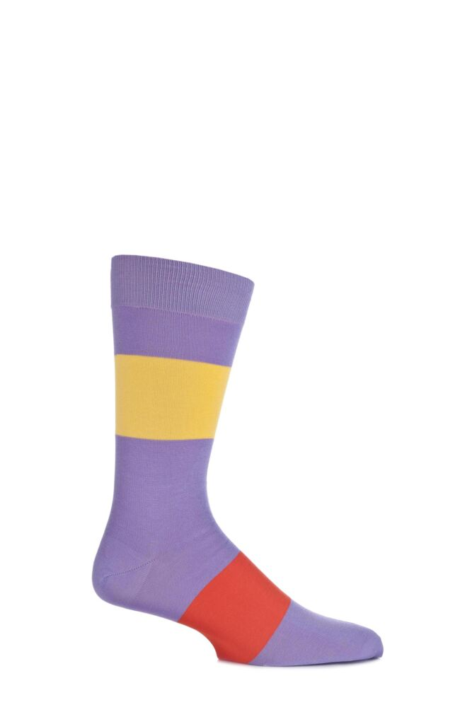 Mens 1 Pair Richard James 100% Cotton Lisle Bondi Wide Striped Socks 25% OFF