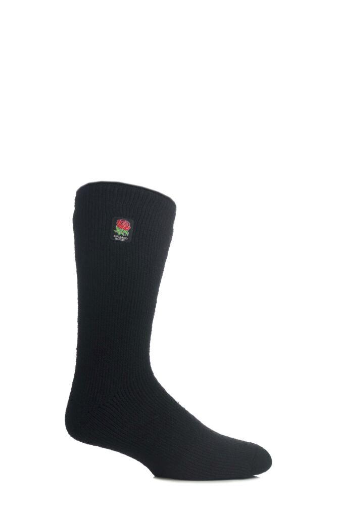 Mens 1 Pair SockShop Heat Holders England Rugby Socks In Black
