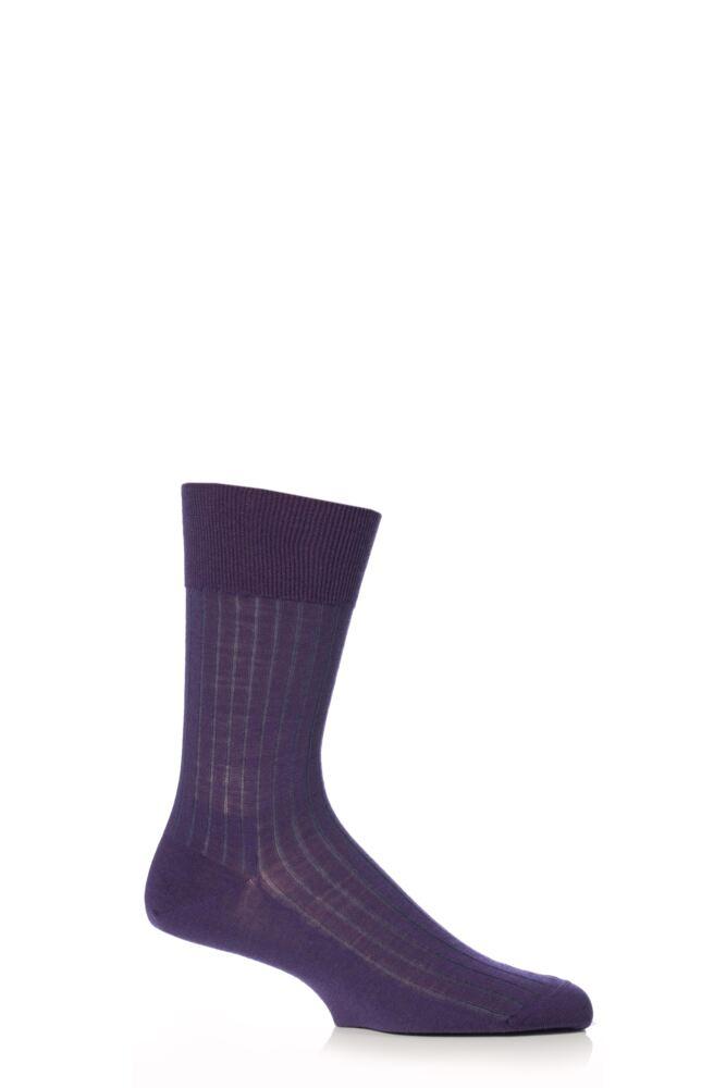 Mens 1 Pair Falke Shadow Wool Rib Socks