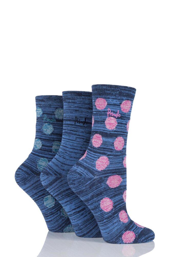 Ladies 3 Pair Pringle Salena Space Dye Dots and Plain Socks