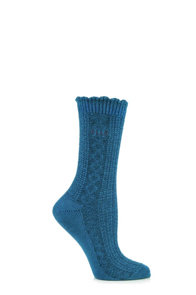 Ladies 1 Pair Elle Wool and Viscose Textured Ribbed Ankle Socks