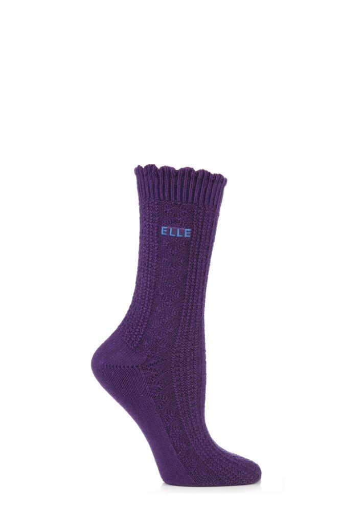 Ladies 1 Pair Elle Wool and Viscose Textured Ribbed Ankle Socks