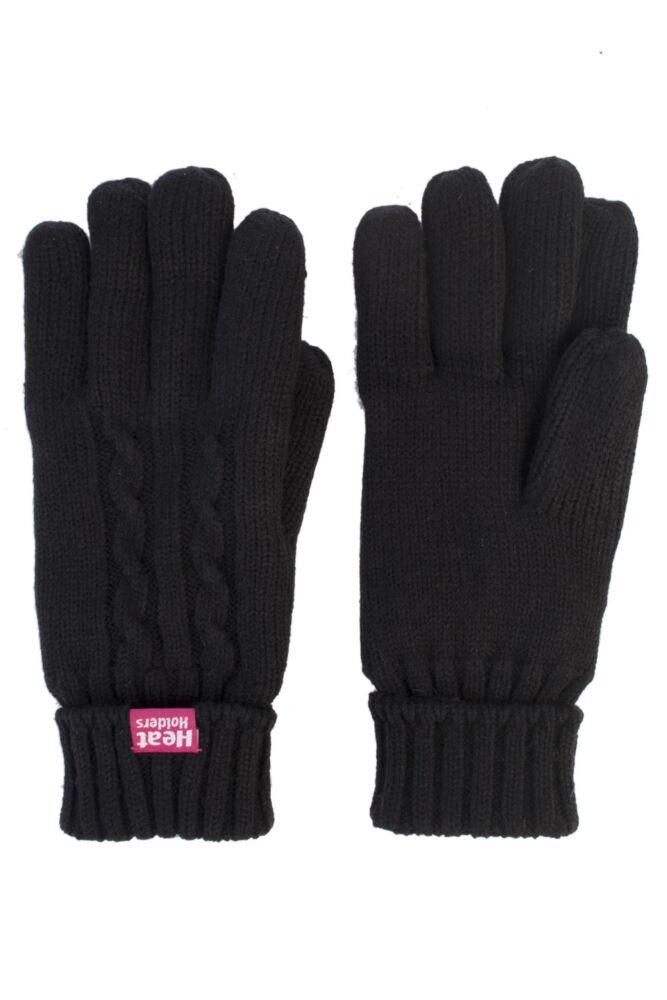Ladies 1 Pair SockShop Heat Holders Cable Knit Gloves