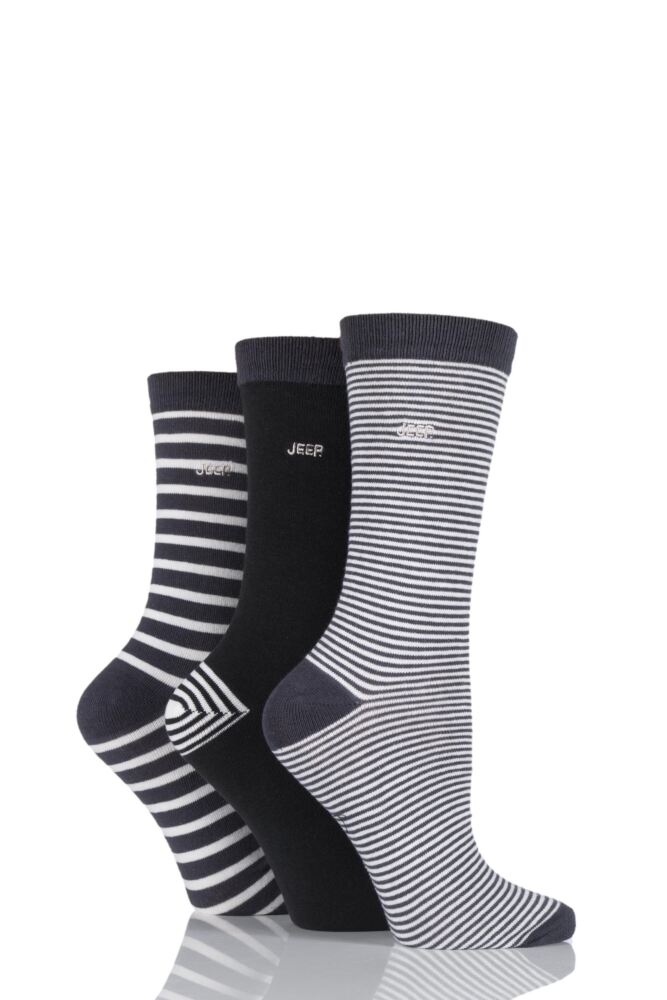 Ladies 3 Pair Jeep Spirit Mixed Stripe and Plain Cotton Socks