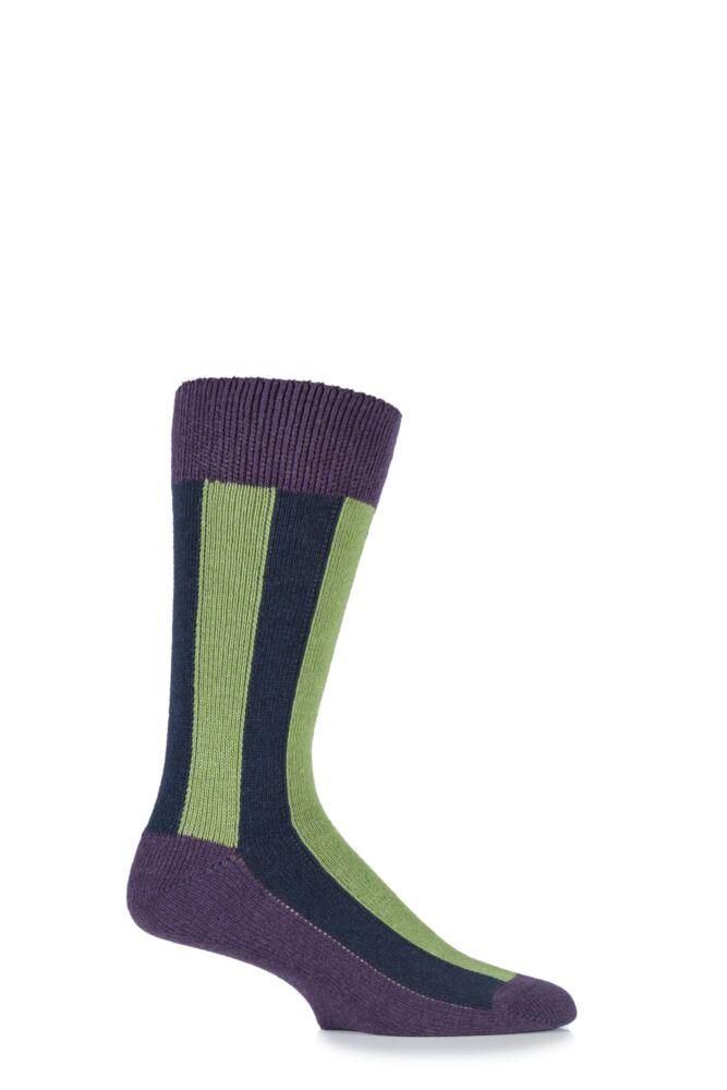 Mens 1 Pair HJ Hall Deckchair Vertical Striped Luxury Lambswool Socks 25% OFF