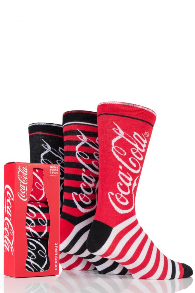 Mens 3 Pair Coca Cola Striped Cotton Socks In Gift Box