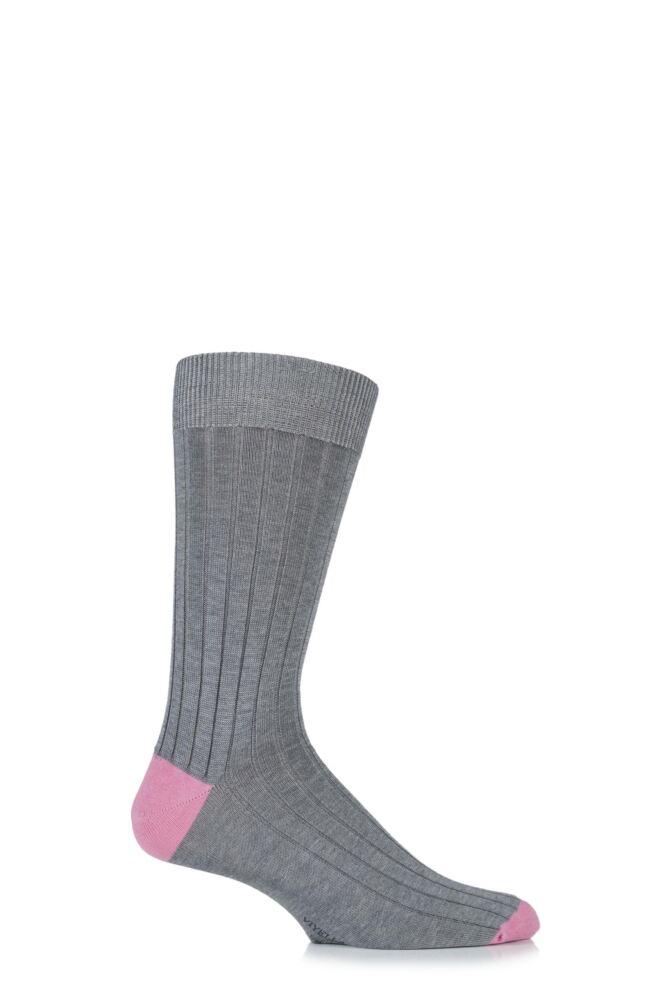 Mens 1 Pair Viyella Mercerised Cotton Contrast Heel and Toe Socks