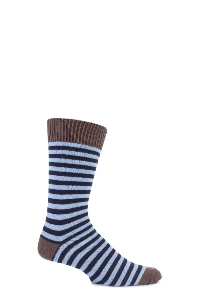 Mens 1 Pair J Alex Swift Striped 80% Cotton Socks