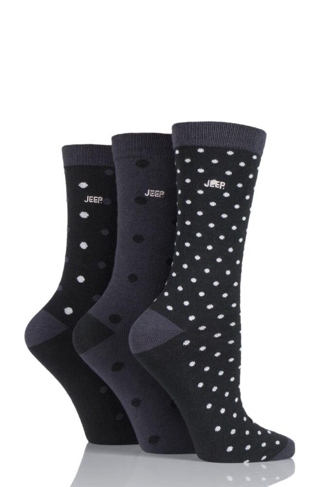 Ladies 3 Pair Jeep Spirit Mixed Spots and Dots Cotton Socks