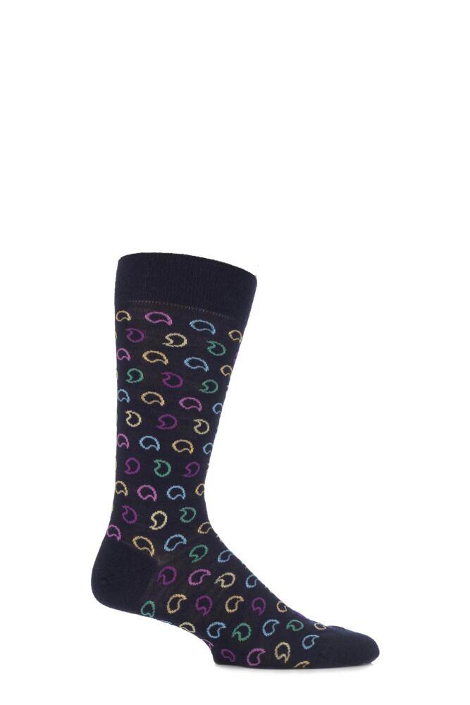 Mens 1 Pair Richard James Merino Wool Percival Bright Paisley Socks 25% OFF