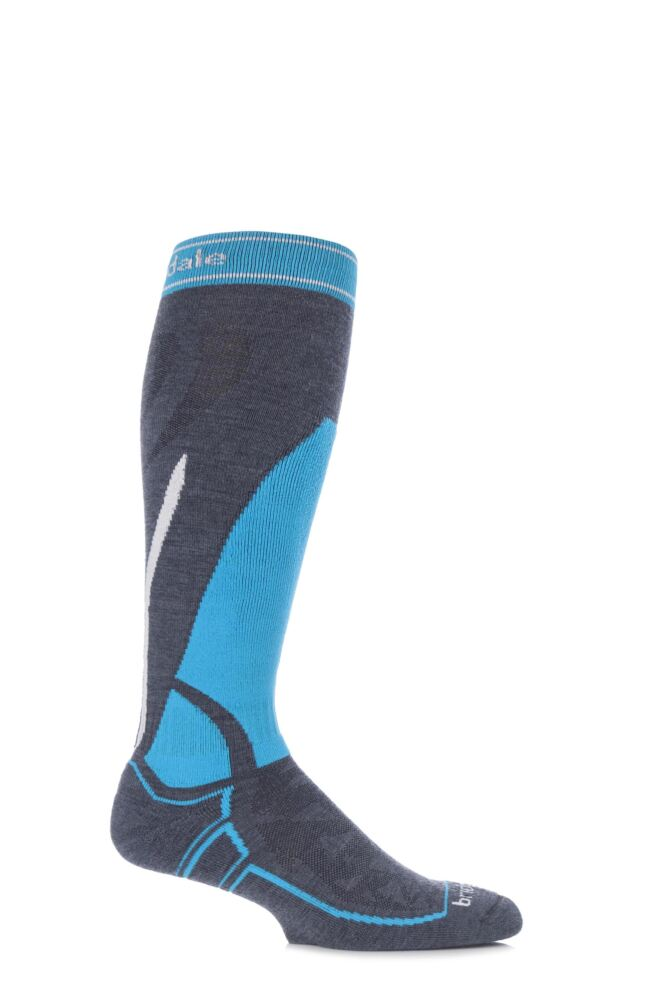 Mens 1 Pair Bridgedale Vertige Midweight Over the Calf Merinofusion Ski Socks