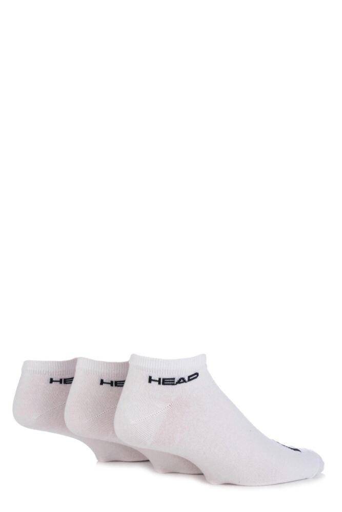 Mens 3 Pair Head Plain Cotton Sport Sneaker Socks In White 25% OFF