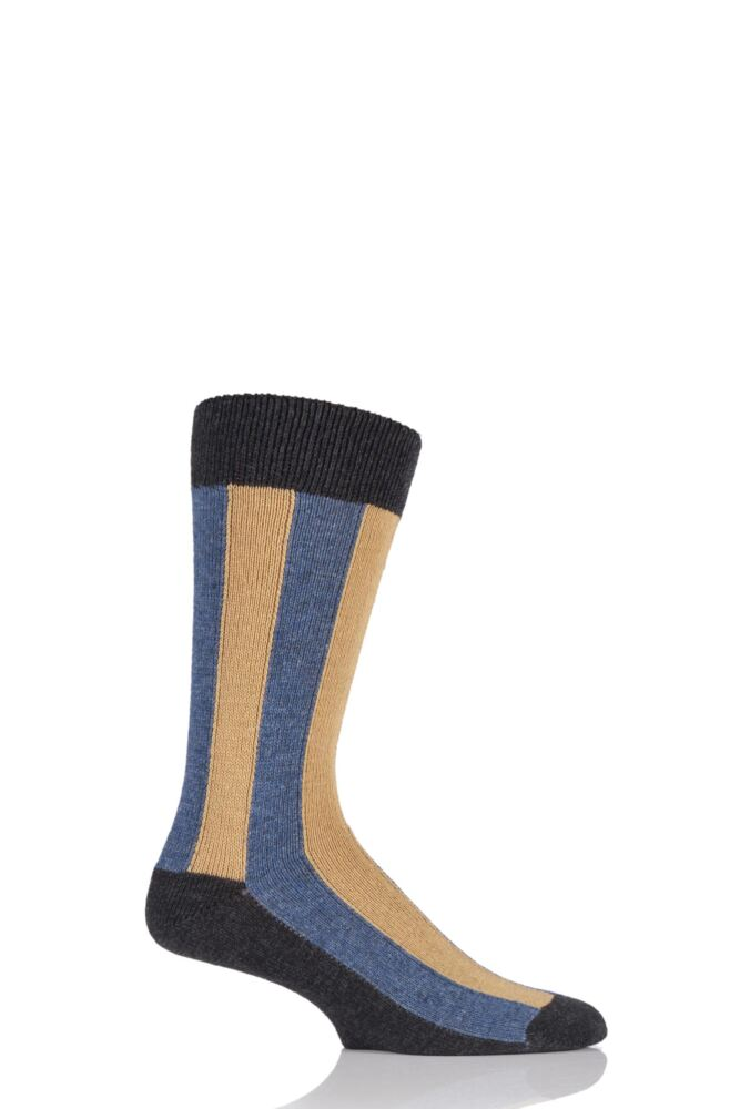 Mens 1 Pair HJ Hall Deckchair Vertical Striped Luxury Lambswool Socks