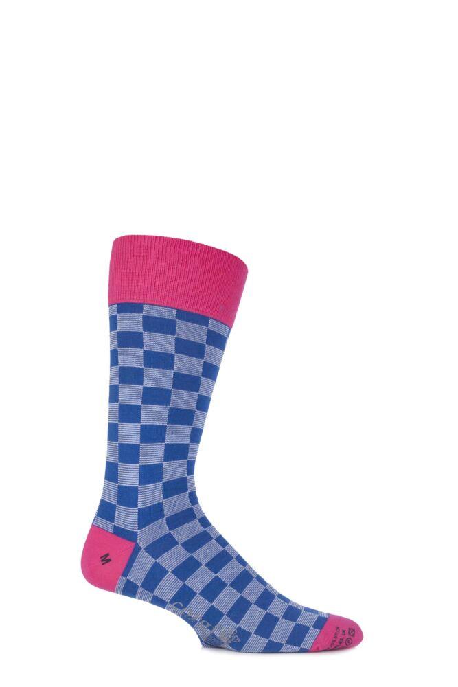 Mens 1 Pair Corgi 75% Cotton Checkboard Socks