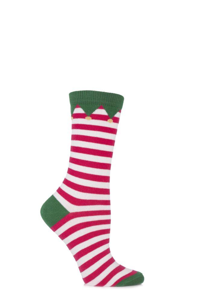 Ladies 1 Pair SockShop Christmas Dare to Wear Santa's Elf Socks