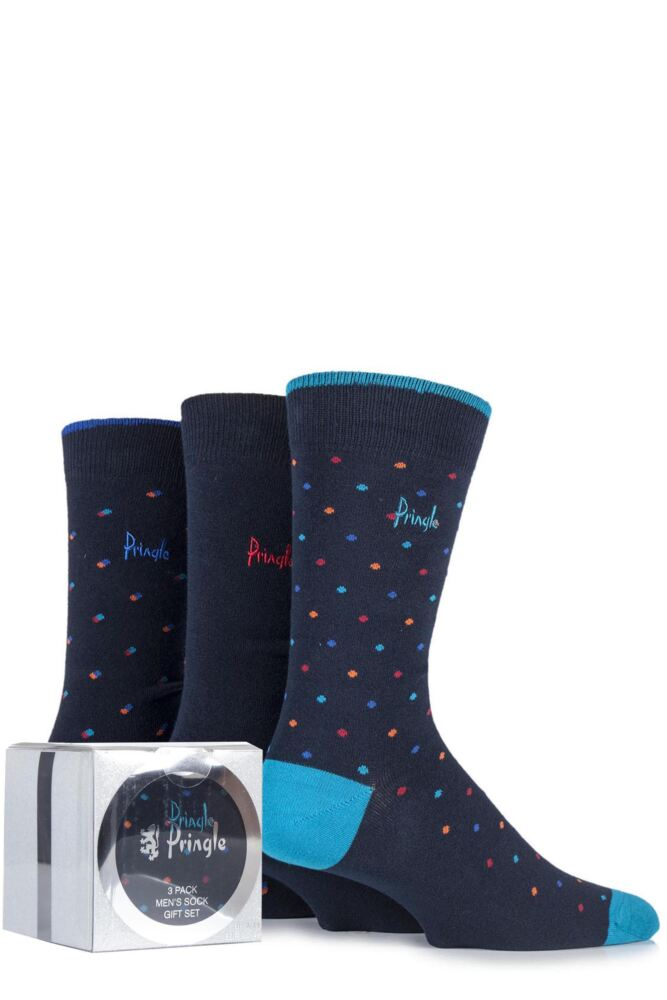 Mens 3 Pair Pringle Gift Boxed Rosewell Plain, Spotty and Square Cotton Socks
